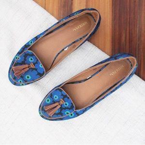 Merona Floral Flats 🥿 Tassle Blue Tan Shoes